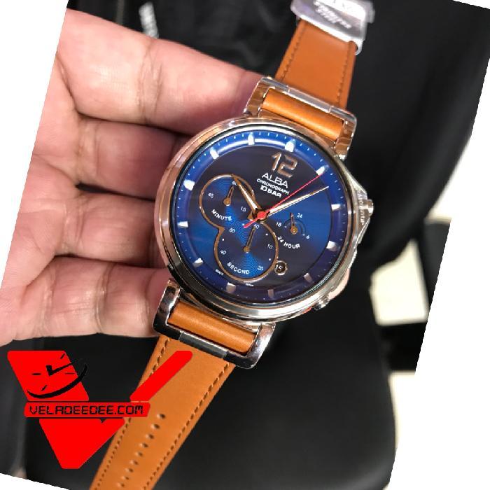 Alba Signa Chronograph Men's Watch นาฬิกาผู้ชาย สายหนังแท้ รุ่น AT3D71X